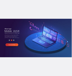 application laptop with business graph vector image