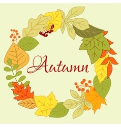 Autumnal leaves frame with berries and seeds vector