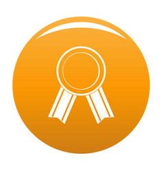 Award ribbon icon orange vector