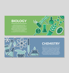 Banners on the theme of biology and chemistry vector