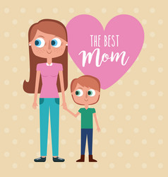 Best mom - woman holds hand kid with pink vector