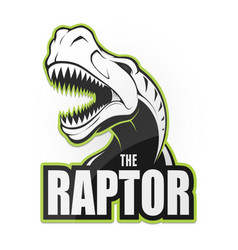 Black and white dinosaur emblem on a white vector