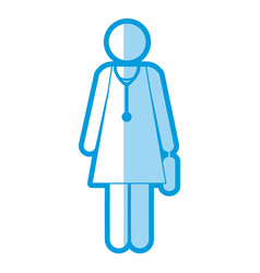 blue shading silhouette pictogram female doctor vector image