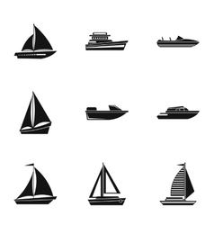 Boat icons set simple style vector