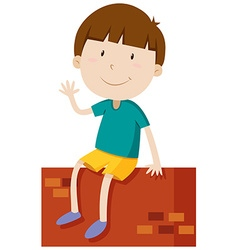 Boy on the wall waving hand vector