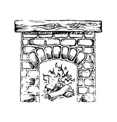 brick fireplace and wood burning vector image