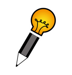 Bulb light with pencil vector