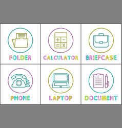 business app round linear icons templates set vector image