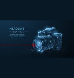 camera abstract 3d polygonal wireframe modern vector image