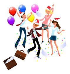 cartoon friends enjoying fun dancing in office vector image