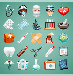 cartoon medical icons set vector image