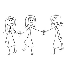 Cartoon of homosexual couple of two lesbian women vector