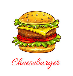 cheeseburger fast food burger icon vector image