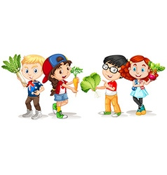 Children holding fresh vegetables vector