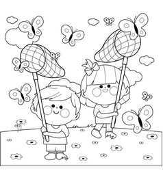 children with butterfly nets catching butterflies vector image