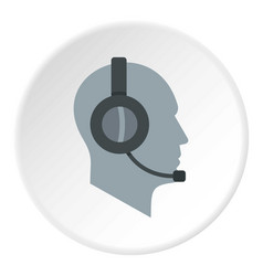 client support service operator in headset icon vector image