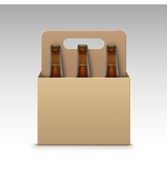 Closed Transparent Bottles Dark Beer and Package vector