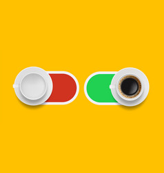 coffee morning sliders on off buttons with vector image