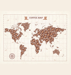 coffee world map with light background vector image