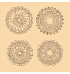 collection mandala meditation oriental yellow vector image