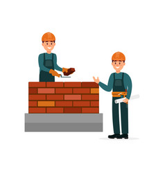 Construction worker bricklayer making a brickwork vector