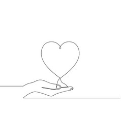 Continuous one line drawing hand holding heart vector