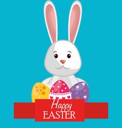 cute rabbit happy easter vector image