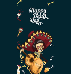 day of the dead man skeleton poster with copyspace vector image