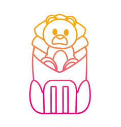 Degraded line bear teddy toy inside backpack style vector