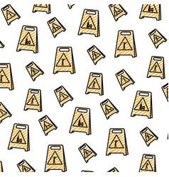 doodle plastic caution emblem to industry vector image