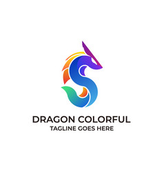 dragon colorful design concept template vector image