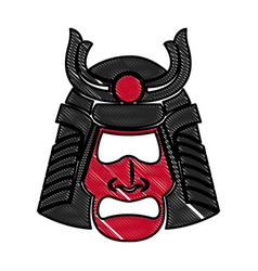 Drawing samurai face mask japanese warrior image vector