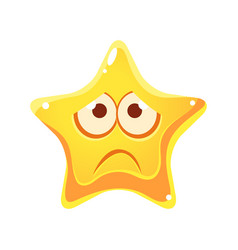 Emotional face of yellow star sad and unhappy vector