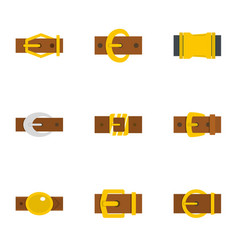 Fashion belt buckle icon set flat style vector