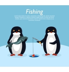 Fishing Banner Penguin Animals on Fish vector