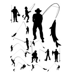 fishing detail silhouettes vector image
