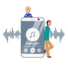 Flat concept podcast with guys and phone vector
