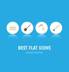 Flat icon garden set of cutter wooden barrier vector