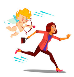 frightened woman running from valentine s day vector image
