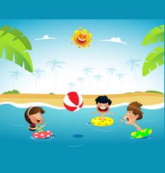 fun cartoon kids playing ball at the sea vector image