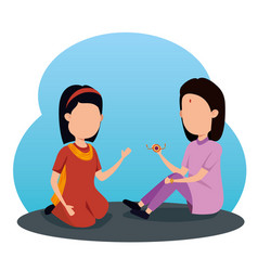 Girl and boy siblings hindu tradition vector