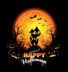 halloween background with pumpkins on night vector image