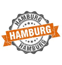 Hamburg round ribbon seal vector