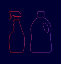 household chemical bottles sign line icon vector image