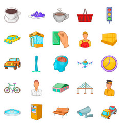 Industrial area icons set cartoon style vector