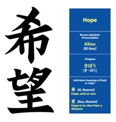 Kanji calligraphy Hope vector