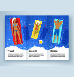 leaflet design with young family on vacation vector image