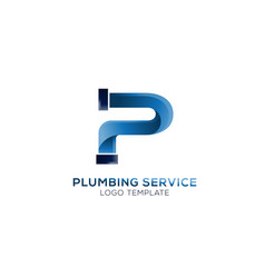 letter p plumbing company logo concept vector image
