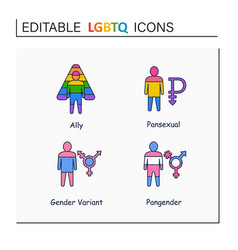 Lgbtq collections line icons vector