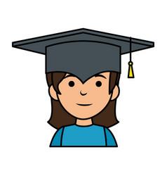 Little schoolgirl with hat graduation vector